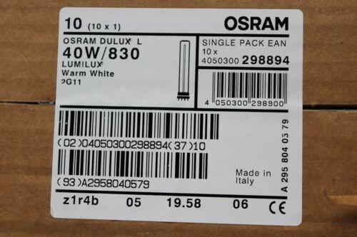20 x Osram Dulux L Lumilux 2G11 40w//830 4-pin CFL bulb lamp 3000k warm white