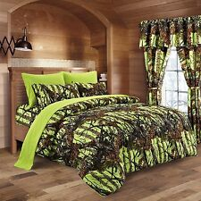 12 PC REGAL COMFORT LIME GREEN CAMO COMFORTER SHEETS  CAMOUFLAGE FULL SIZE BED