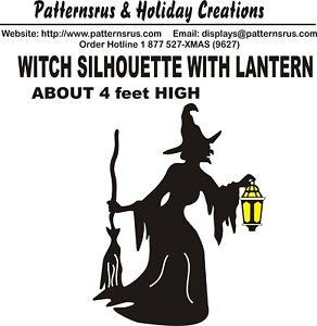 Witch Silhouette With Lantern Halloween Woodworking Patterns Yard Art Plan Ebay