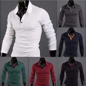 NEW-Mens-Stylish-Slim-Fit-Casual-Fashion-T-shirts-Polo-Shirt-Long-Sleeve-Tops-US
