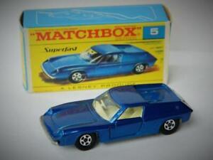 MATCHBOX-LESNEY-SUPERFAST-LOTUS-EUROPA-5-DARK-BLUE-VNM-IN-ORIGINAL-F2-BOX-1969