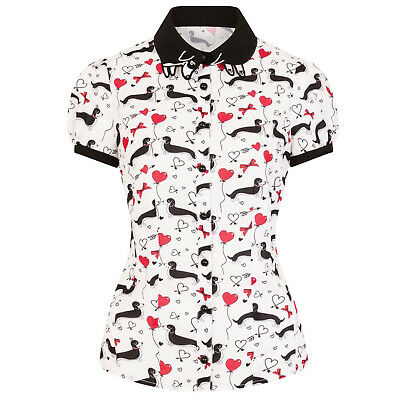 Hell Bunny Smoky Vintage Retro 40s 50s Sausage Dog Hearts Love Blouse Top Shirt