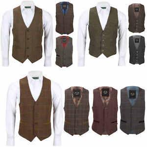 Nuevo-Chaleco-De-Hombre-Retro-Vintage-Marron-Tweed-Espiga-Roble-cheque-Smart-Casual
