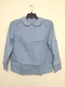 Eddie-Bauer-School-Girl-Uniform-Blue-Button-Down-Shirt-Top-Blouse-Sz-18-NWT
