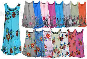 Women-s-Summer-2019-Beach-Floral-Cotton-Sleeveless-Tunic-Shift-Mini-Dress-size18