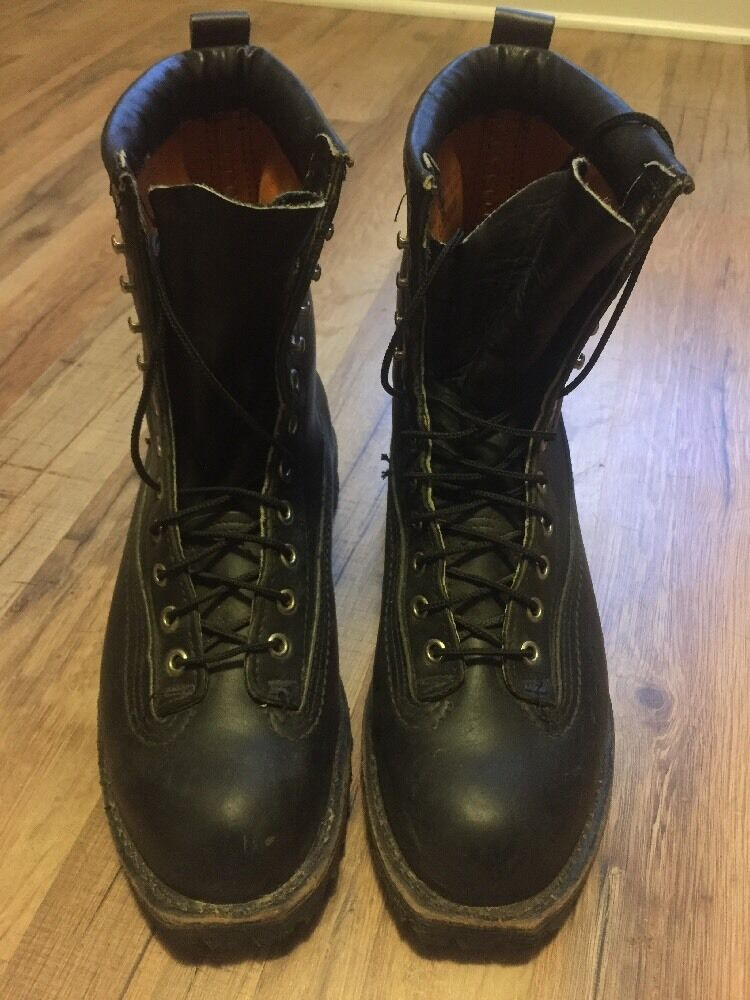 Vibram Men's Size 8 Military Biker Black Lace Up Boots