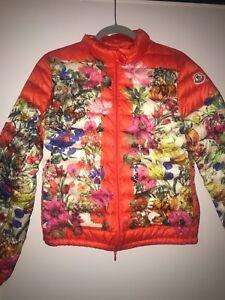 Details zu Moncler Alisia Floral Jacke Orange Größe 34 Daune limitiert