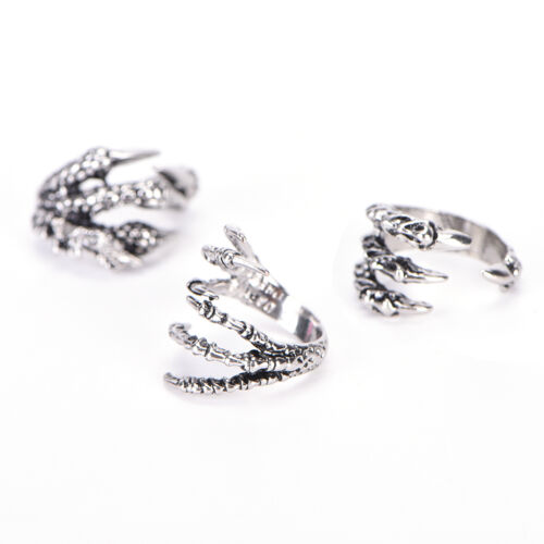 Punk Rock Mens Biker Rings Vintage Gothic Jewelry Silver Color Dragons Claw BSCA