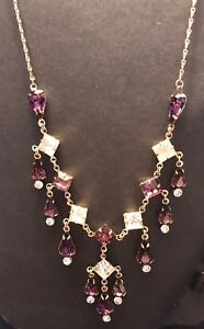 Vintage-PURPLE-amp-CLEAR-Rhinestone-Necklace-Dangle-Gold-Toned-Estate-STUNNING