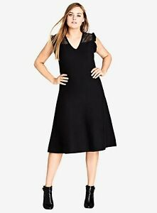 Ex EVANS City Chic Black Charmer  Fit & Flare Knitted Midi Dress Sizes 14 - 22