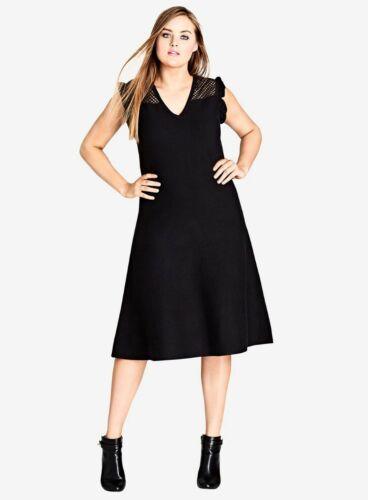 Ex EVANS City Chic Black Charmer  Fit /& Flare Midi Dress Sizes 14-22