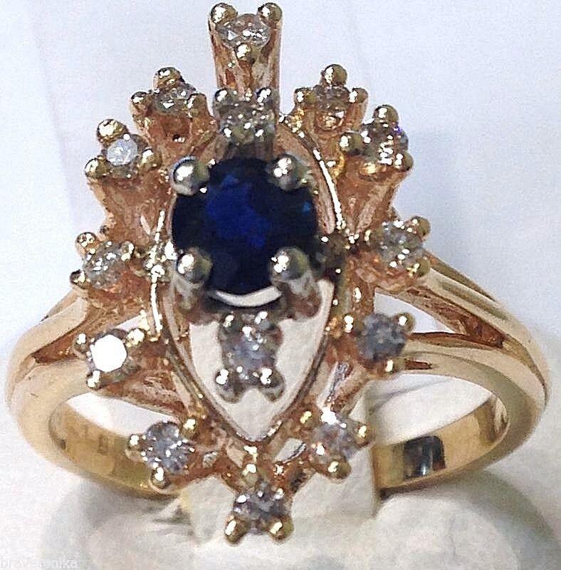 CERTIFIED Stunning Ladies Ring 14k Y gold 0.78ctw bluee Sapphire & Diamonds. New