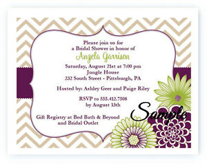20 Personalized Custom Bridal Shower Purple Floral Wedding Invitations