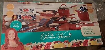 The Pioneer Woman Frontier Speckle 25-Piece Nonstick /& Cast Iron Cookware Combo
