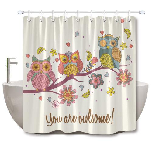 "72X72/"" Funny Owls Shower Curtain Waterproof Fabric Bathroom Decor Curtains Mat"