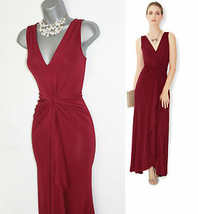 b9c36916260f MONSOON Red Jersey Cath Twist Front V Neck Cocktail Maxi Dress UK 8 ...