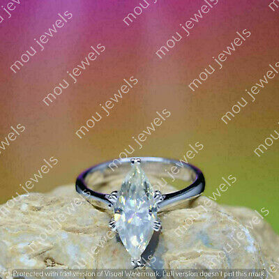 2.00Ct Marquise VVS1 DIAMOND 14K WHITE GOLD Halo Ring Solitaire Engagement ROSE