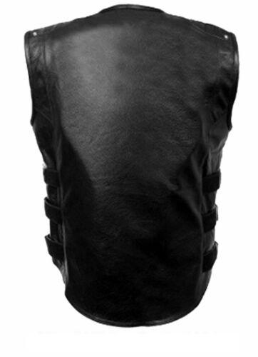 Leather Vest Style Genuine Mens Bluf Swat Waistcoat Black Bikers axqTOqY