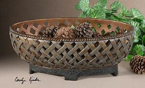 new 20 aged copper bronze finish ornate bowl rustic modern lattice