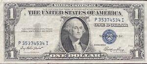 USA-1-Dollar-1935-E-Silver-Certificate-One-Banknote-Schein-Gute-Erhaltung-21957
