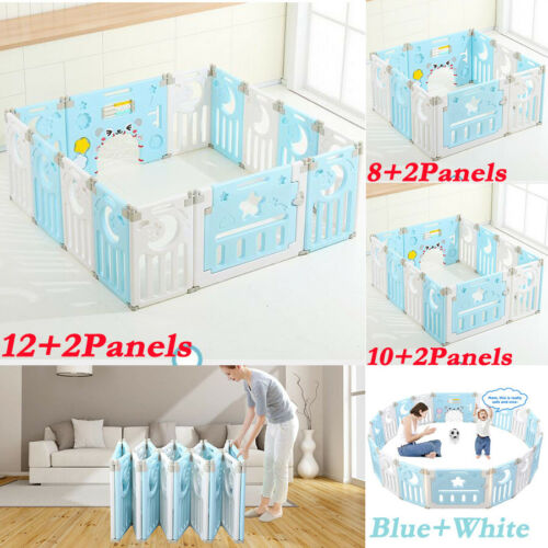 Extendable Baby Playpen 14 Panel Foldable Kids Indoor Outdoor Fence Room Divider