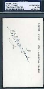 Whitey-Ford-Psa-Dna-Coa-Autograph-3x5-Index-Card-Hand-Signed-Authentic