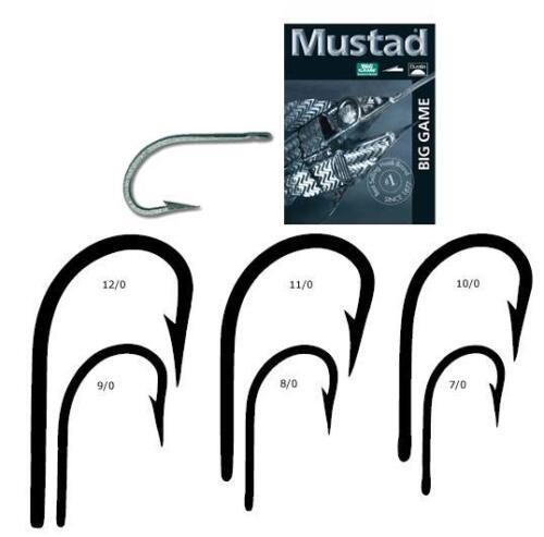 10 Mustad 7754DT-70 Size 7//0 Saltwater Big Game Bay King Duratin 2X Hooks