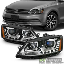 2011-2017 VW Jetta Sedan [Halogen Model] LED DRL Projector Black Headlights Lamp