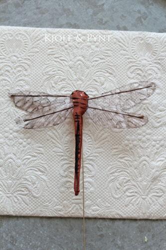 1,90€//St 2x Libelle Braun 9x8cm mit Draht Frühlingsdeko Ostern Dragonfly