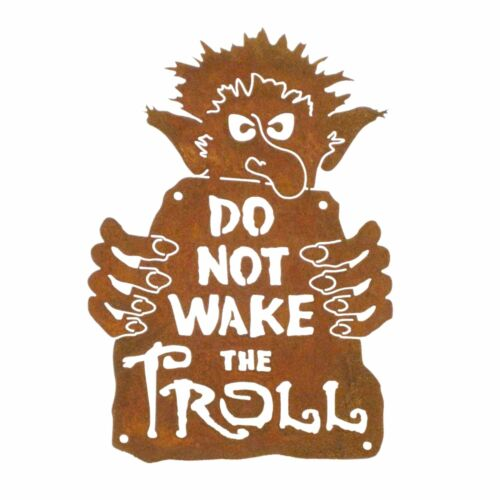 Do Not Wake The Troll Wall Mount Sign Rusted Steel Metal Man Cave Art