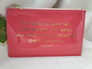 Kate Spade Pink Pencil Pouch Eraser Sharpener Ruler 2 pencils Included NWT