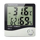 Digital LCD Temperature Humidity Meter Clock Indoor Hygrometer Thermometer HTC-1