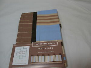 """New Kenneth Brown Baby HANDSOME PUPPY Valance 44""""x14""""~ Brown, Tan, Blue Stripes"""
