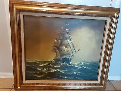 LMOP113 100/% hand-painted sailing ship seascape OIL PAINTING CANVAS decor ART