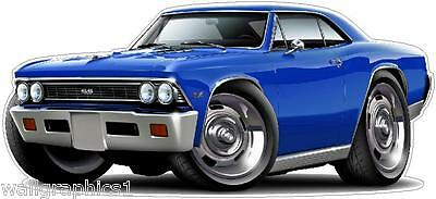 1969 Chevelle SS 396 L-78 Cartoon Car Wall Decal Sticker Cling Graphic
