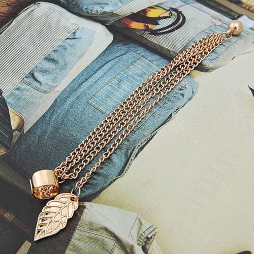 2x Fashion Women Punk Rock Leaf Chain Tassel Dangle Cuff Wrap Earring Ear  OQF