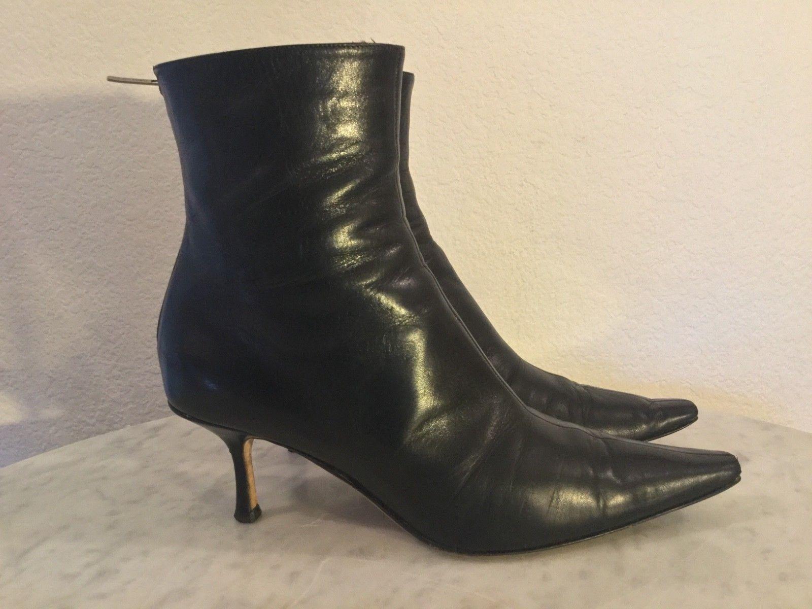 Jimmy Jimmy Jimmy Choo Cuero Negro Puntera Puntiaguda al tobillo Botines. para mujer Talla 39 1 2 M. de Italia.  100% autentico