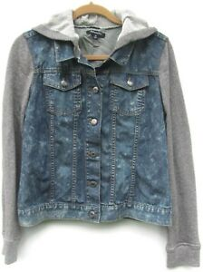 08b72e94c27 Women s Relativity Denim Jean Jacket Knit Sleeves   Hood Size Medium ...