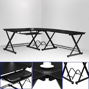 L Shape Corner Computer Desk Pc Table Workstation Study Home Office Furniture Uk Ebay