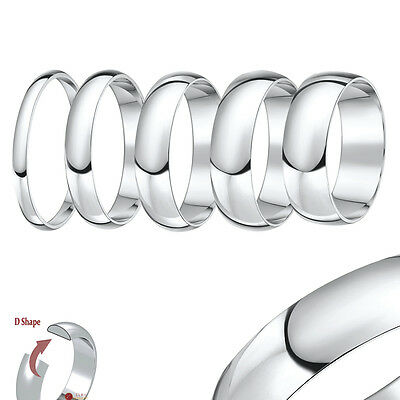 Platinum Wedding Ring D Shaped High Polished Band Solid  & Hallmarked