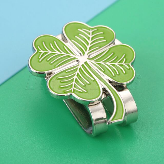 1x Four Leaf Clover Hat Clip With Magnetic Golf Ball Marker Rub for Luck  Outdoor  e57b797ce343