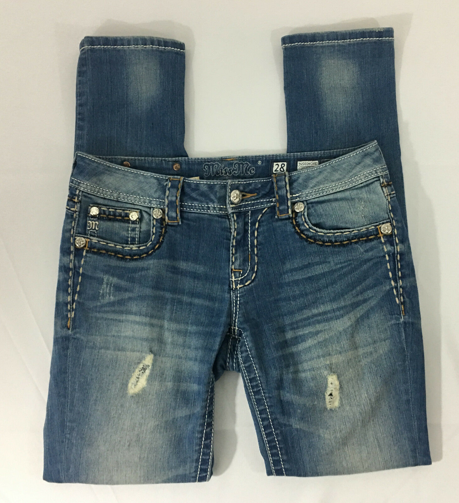 P16 Womens Miss Me Cuffed Skinny Denim Jeans  Sz 28 Embellished