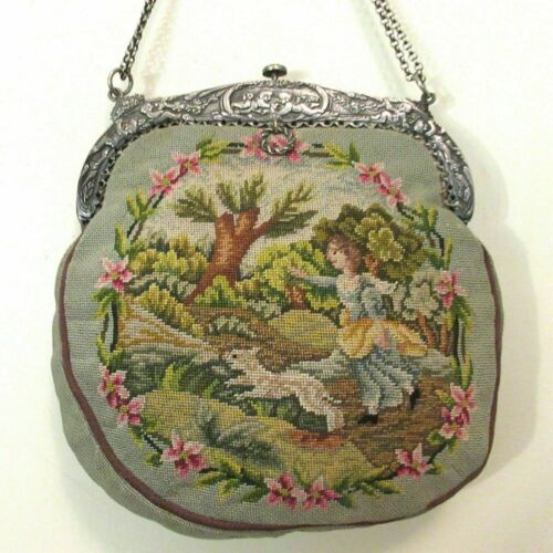 Vintage Scenic Petit Point Purse Handbag Girl & Do