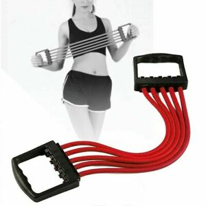 Details about Gym Adjustable 5-Spring Rubber Chest Expander Pull Stretcher  Muscle Training Red