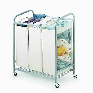 Metal Rolling Laundry Hamper 3 Bags With Casters Ebay