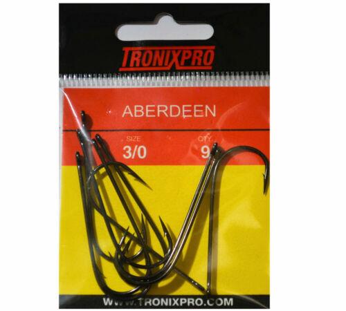 Tronixpro Aberdeen Hooks Sea Fishing Bait Hooks Size 3//0 Long Shank