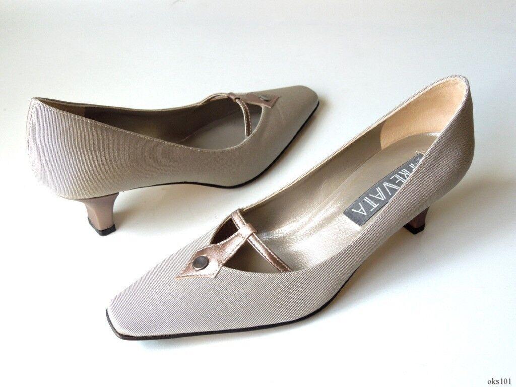 Nouveau 280   Prevata  DAUPHI 'étain Grossgrain Classic en cuir talons hauts chaussures-Italie