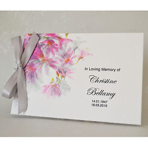 Personalised Book of Condolence Bereavement Funeral Guest Book