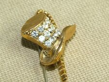 Vintage Rhinestone Top Hat & Cane Hat Pin 3 inches