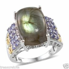 NIB $429.99 Size 10 Genuine Malagasy Labradorite & Tanzanite Ring 18.15 Cts K-21